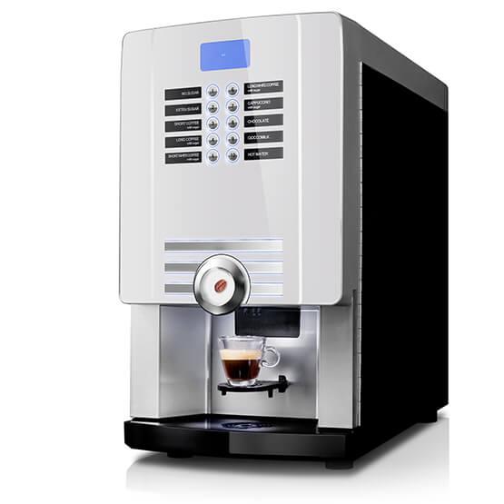 Hvid Larhea Cine eC kaffemaskine til hele bønner eller intantkaffe.
