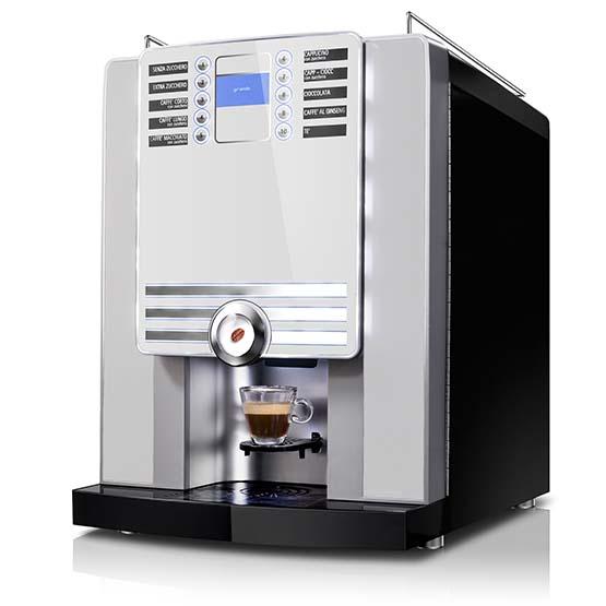 Hvid Larhea Cino xs Grande Pro kaffemaskine til hele bønner.